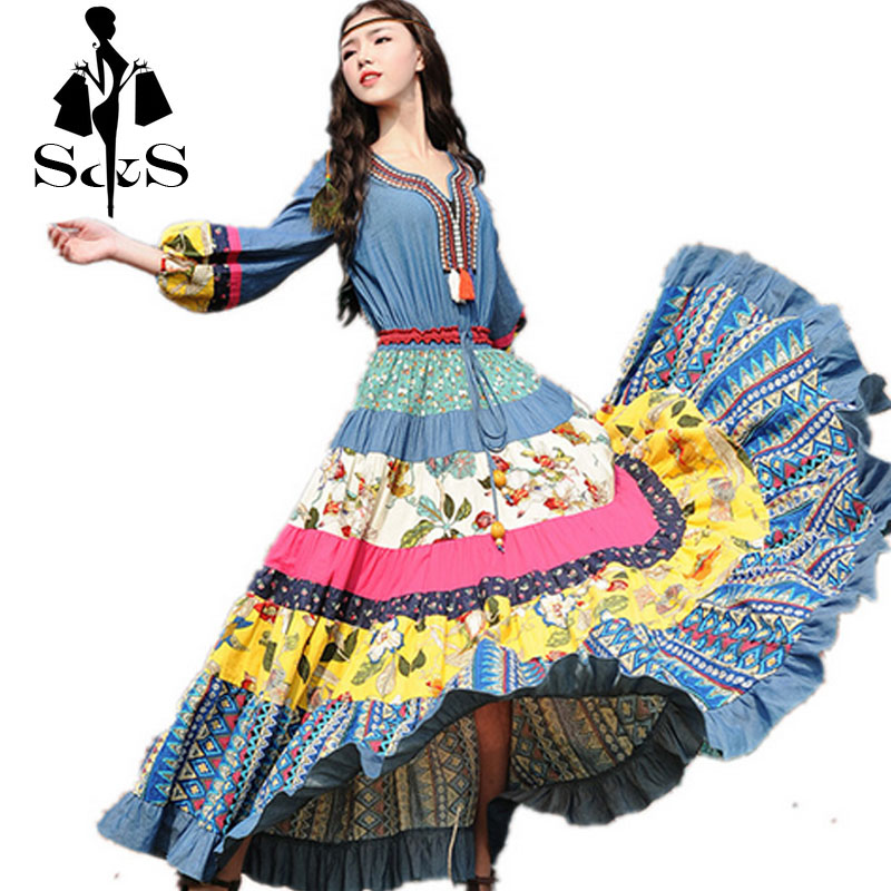 S&amp;S Casual 2016 New Boshow Spring And Summer National Trend Lantern 3/4 Sleeve Denim Cotton Long Maxi Flower Print Dress S-LОдежда и ак�е��уары<br><br><br>Aliexpress