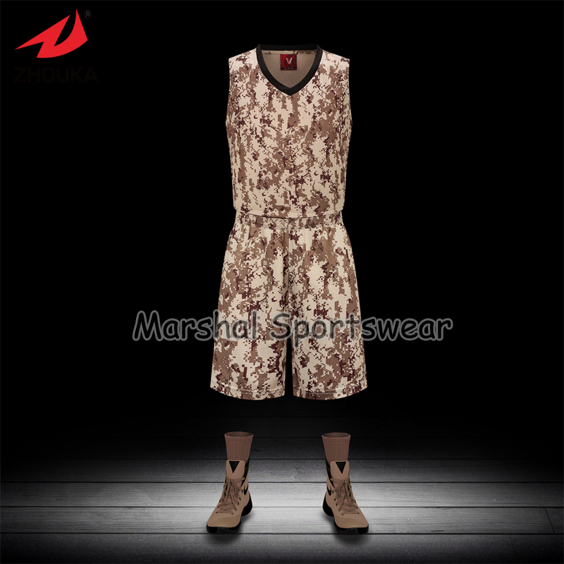 Latest sublimation customized basketball jersey,accept small quantity,top quality camouflage style Brown color(China (Mainland))