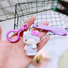 2019 Rosa Bonito Do Gato Olá Kitty Boneca Chaveiro Corda de Couro Chave Titular Anel Sino de Metal Da Corrente Chave Chaveiro Charme Saco pingente de carro de Presente(China)