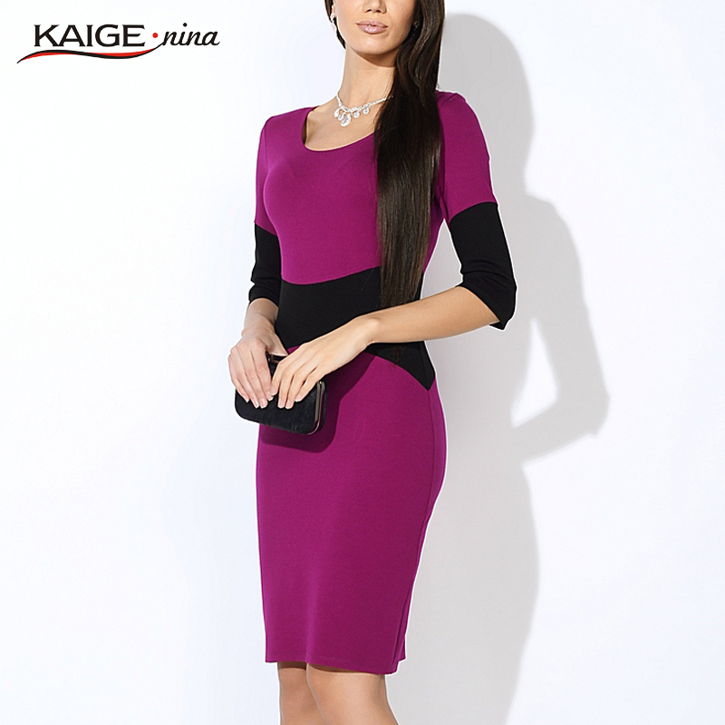 Kaige.Nina New Women's Fashion Leisure Pure Color Stitching Half Sleeve Round Collar Knee-length Dress 1220(China (Mainland))