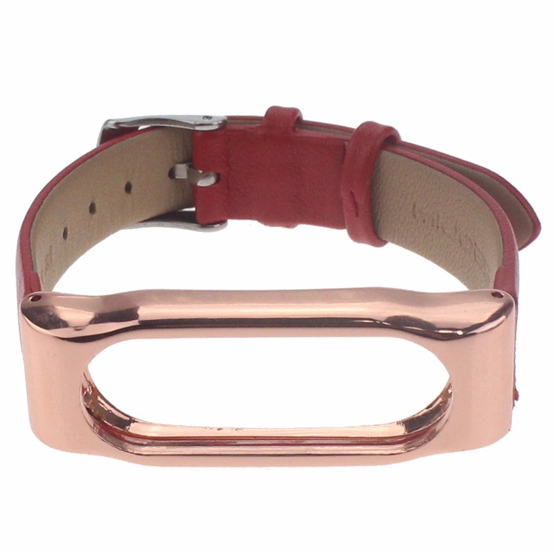 Fashion Mi Band Bracelet PU Leather Strap Metal Frame For Xiaomi Mi Band 2 1S 1 Miband 1s Wristband Replacement New Accessories
