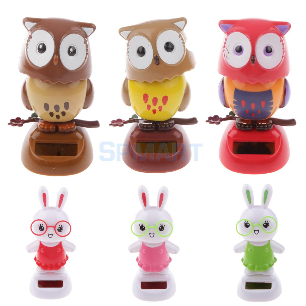 Cute Solar Powered Bobble Head Flip Flap Rabbit/Owl Kids Toy Car Ornament Gift(China (Mainland))