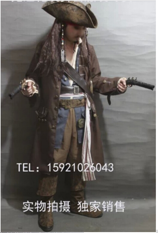 Caribbean Pirate Costume Adult Men Grand Heritage Collection Deluxe Jack Sparrow luxury wig cosplay setОдежда и ак�е��уары<br><br><br>Aliexpress