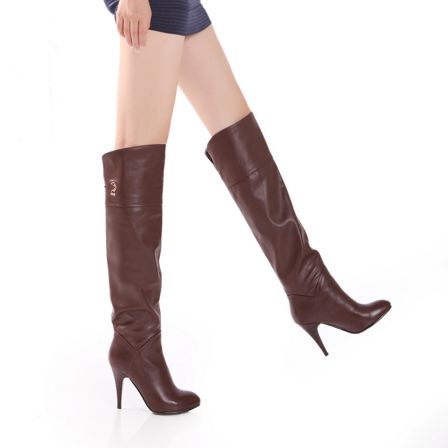 2015 winter Autumn New Slip-On Sequined Knee Boots Women Solid Colors Round Toe Spike Heels Over Knee Boots size 34-39 R1226