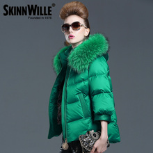 2015 Winter New Ladies Fashion Loose Short Design Duck Down Coat&Jackets Women Luxury Raccoon Fur Hooded Branded Down Parkas(China (Mainland))