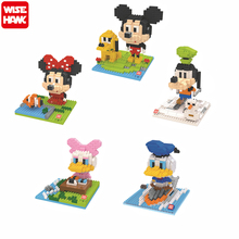 Wisehawk Diamond Block Mickey Minnie Mouse Donald Duck Daisy Goofy Building Brick Toy 3D Mini Action Figure Model Gift For Kids
