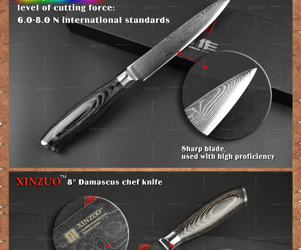 Buy XINZUO 2 pcs kitchen knife set high quality VG10 chef utility knife Japanese Damascus kitchen knife wood handle free shipping cheap