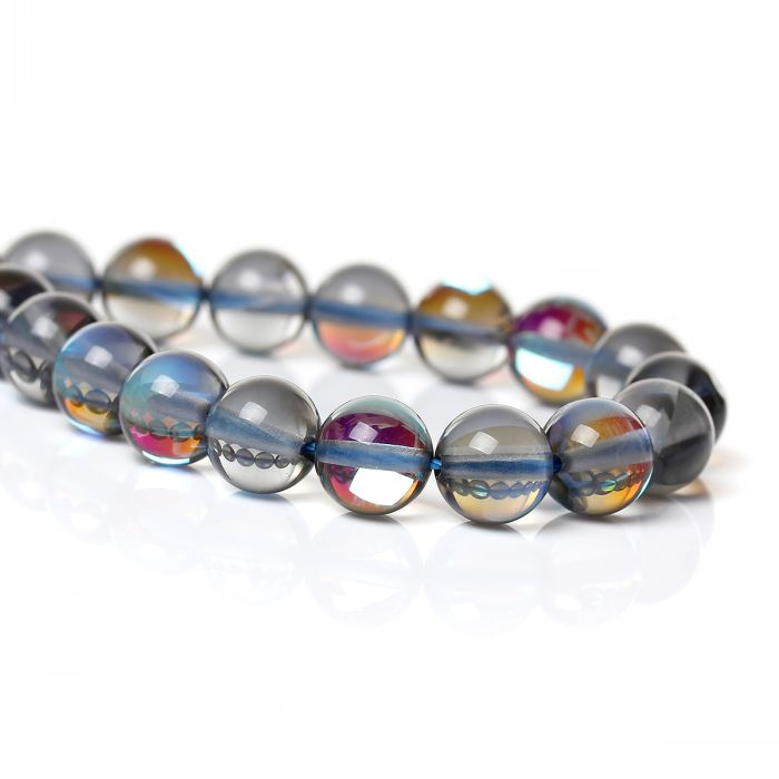 """DoreenBeads Retail Created Natural Moonstone Beads Round Blue AB Color About 8mm(3/8"""") Dia,39.7cm long,1 Strand(approx 49PCs)(China (Mainland))"""