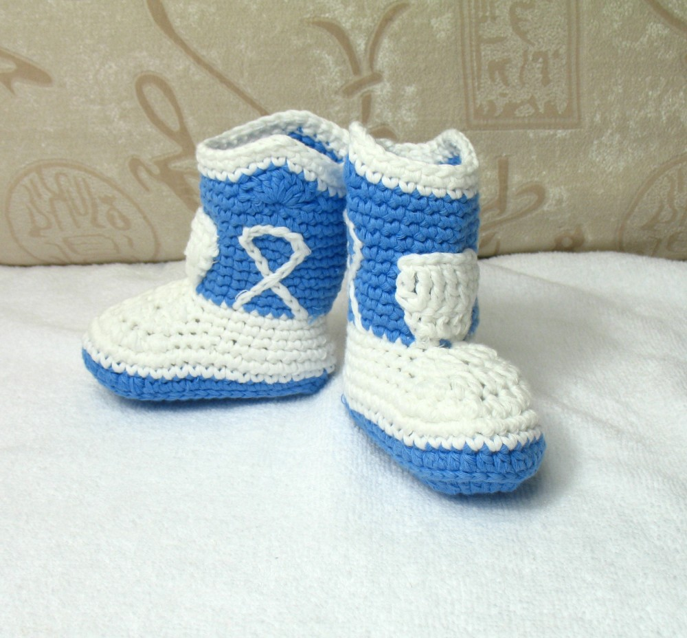 Wholesale 2015 New Cowboy Pattern Baby Boots/Crochet Cowboy Cotton Yarn Booties Mixed Design 30 pairs/lot(China (Mainland))