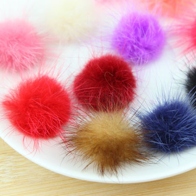 100pcs 3cm Charm Fluffy mix color mink fur pom pom balls for winter coat hat cap key chain accessories Free shipping<br><br>Aliexpress