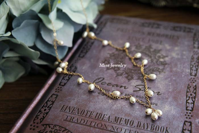 Baby's breath import 14K gold filling natural pearls necklace Jewelry K14N043(China (Mainland))