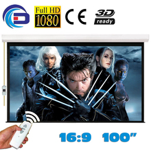 100 inches 16:9 Electric Projection Screen Matt White pantalla proyeccion for LED LCD HD Movie Motorized Projector Screen(China (Mainland))
