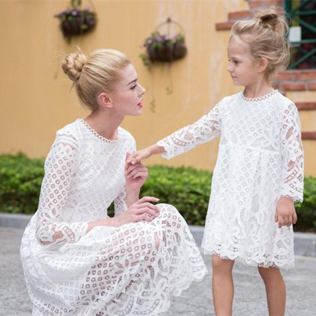 Европейский стиль Осень Зима мать дочь платья повседневная твердые кружева стиль ...