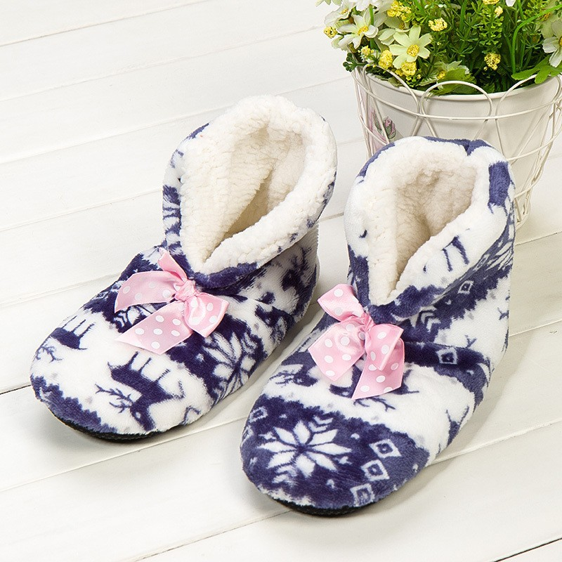 2016 New Styles Warm Winter Slippers Deer Print Bow Home Slippers Soft Floor Socks Women Slippers 6 Colors Free Size(Eur 35-39)<br><br>Aliexpress