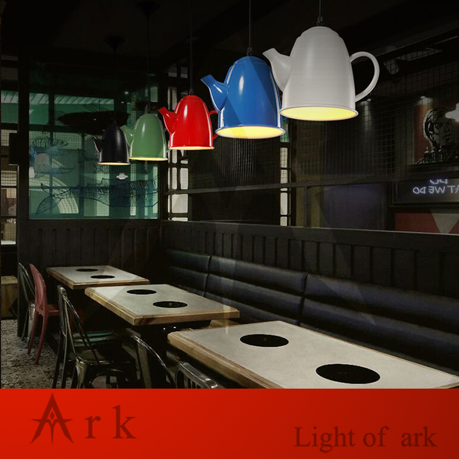 ARK LIGHT 1pcs led Loft Industrial Vintage colorful iron TEAPOT Personalized Bar Lighting pendant lamp for coffee house(China (Mainland))
