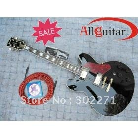 Custom JAZZ Vibratone Tremolo Bigsby black Electric Guitar++++Free shipping(China (Mainland))