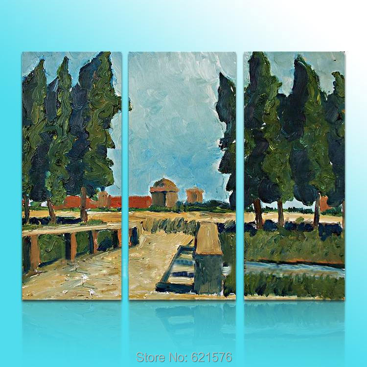 Hand-painted modern wall art home decor abstract living room copy Impressionist Monet field tree oil painting on canvas framed(China (Mainland))