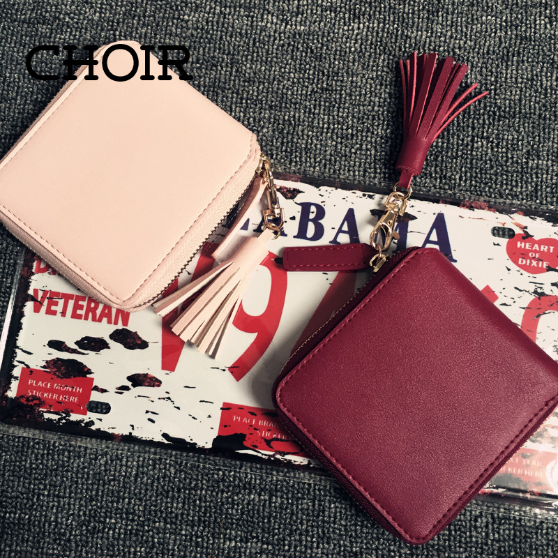 Top quality Square women coin purses holders wallet leather female money designer tassel wallets famous brand