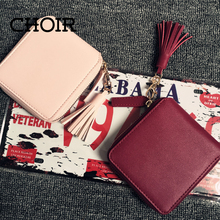 Top quality Square women coin purses holders wallet,leather female money designer tassel wallets famous brand women wallet 2015