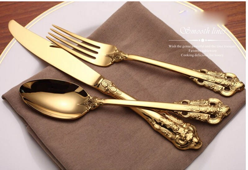 Buy 4 Pieces Set Royal Golden Color Dinnerware Set High Grade Never Fade 304 Stainless Steel Spoon Set With Fork Knife Free Shipping cheap