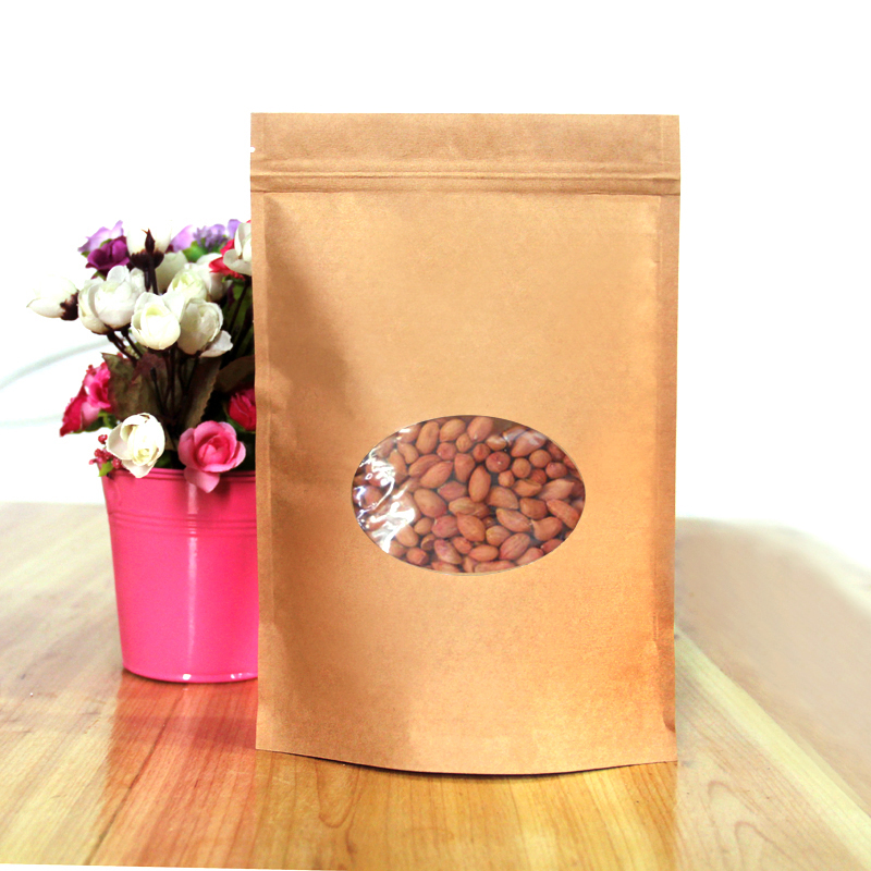 100pcs/lot 17cm*24cm+4cm*140Micron High Quality Kraft Paper Stand Up Pouch Bag Laminating Pouches(China (Mainland))