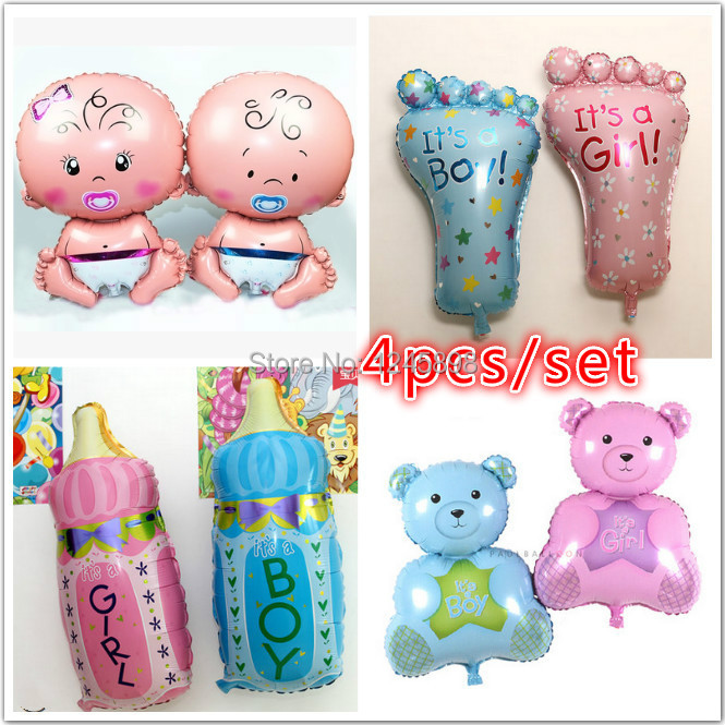SET01 The newest baby balloons four designs ballons baby+bear+foot+milk bottle for baby shower decoration globos birthday party<br><br>Aliexpress