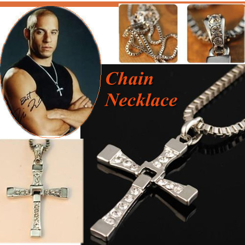 "Free Shipping  The Fast and the Furious Dominic Toretto's CROSS PENDANT 26"" Chain Necklace"