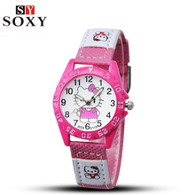 Hello Kitty Kids Watches Children's Watches Gril Lovely Cartoon Watch Leather Baby Watch Clock Gift saat relogio montre enfant(China (Mainland))