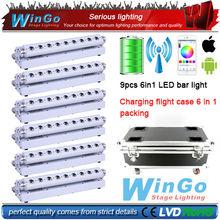 RGBWA UV battery powered wireless dmx led wall wash light / 6 in 1 LED Battery Powered Wireless DMX bar light 6XLOT(China (Mainland))
