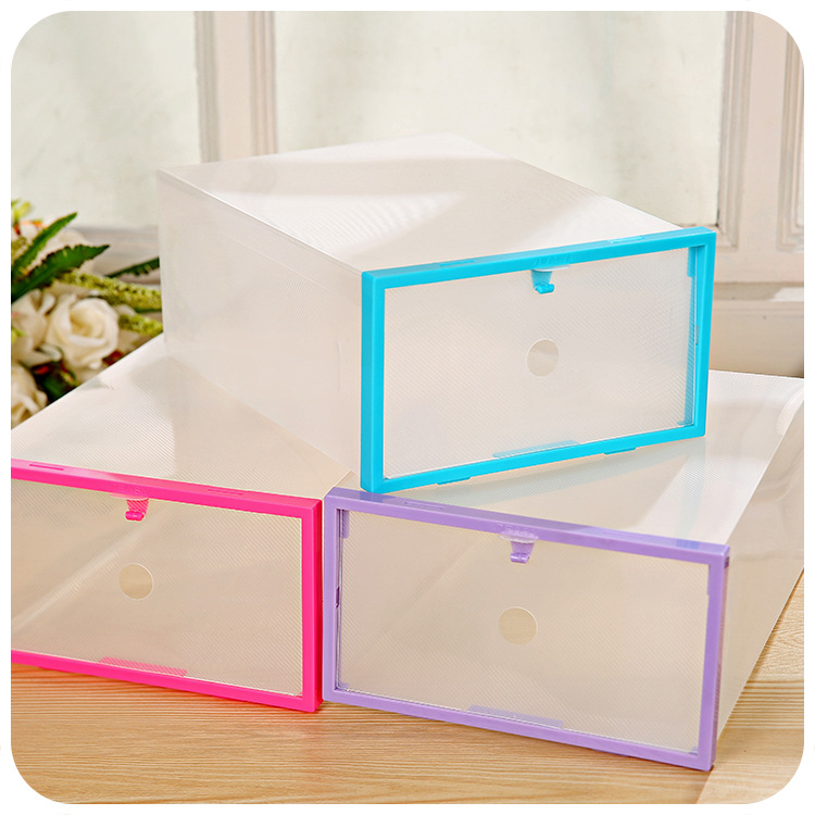 F1419 Colorful Shoebox Hardcover Drawer Transparent Crystal PP Plastic Storage Box Clear Plastic Shoe Box Household Use F1419(China (Mainland))
