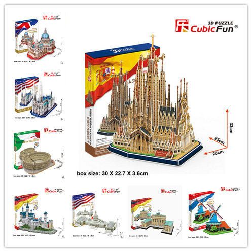 Cubic Fun 3D Paper Puzzle Model Series MC Large Size Taj Mahal Empire State Building Rome Colosseum Souvenir Children Gift Toy(China (Mainland))