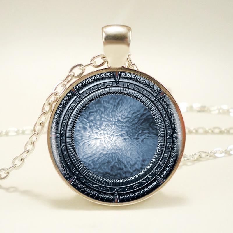 1pcs/lot Hot Sale Stargate Logo Pendant Necklace Art Charm Handmade Round Vintage Necklace Women Jewelry(China (Mainland))