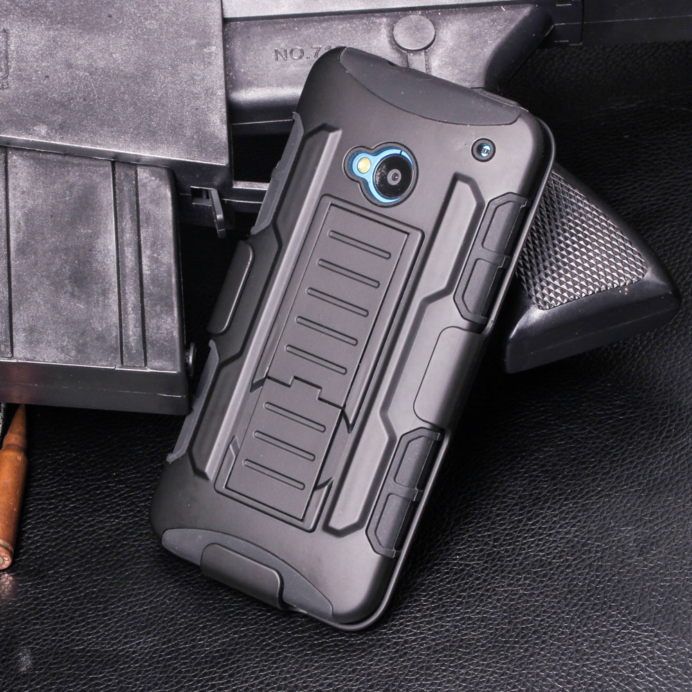 For HTC One M7 Case, Heavy Duty Armor Impact Holster Shockproof Hybrid Hard Case For HTC One M7 801e Cover Shell Bags + Gift(China (Mainland))