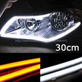 2 X 30cm DIY White Amber Yellow Flexible Strip Turn Signal Tube Angel Eye DRL LED