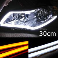 последовательный поток стиль автомобиля гибкий белый/автожелтый американские горки привело ДРЛ дневного света с сигнала поворота лампы 2016 автомобиля укладка
