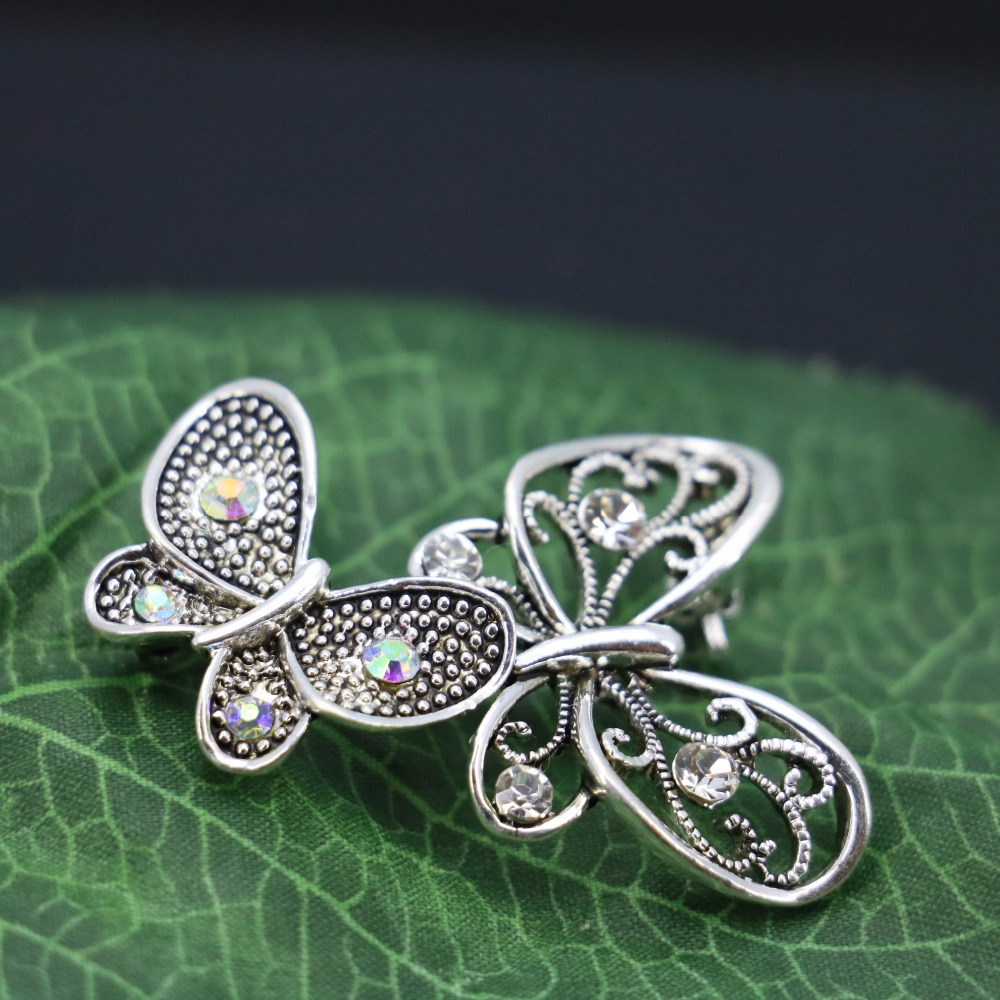 Butterfly Rhinestone Brooch bouquet Breastpin Brooches Crystal Glass Jewelry making Design Accessories For Women Girls 29*43mm(China (Mainland))