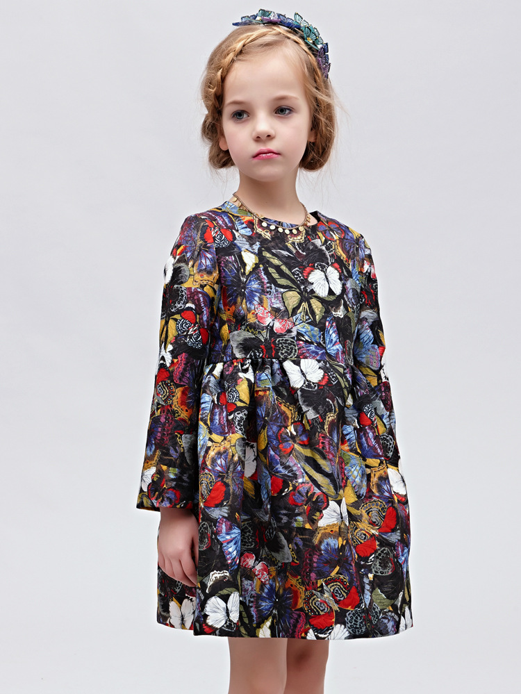New Autumn Fashion Brand Full Sleeve Girl Christmas Dress Butterfuly Print Kids Princess Dress Robe Fille