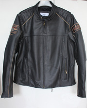 New Fashion Men Genuine Leather Jackets Motorcycle Jackets Black Male Winter Coats(China (Mainland))