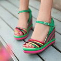 2016 bohemia color block decoration straw braid platform wedges high heeled platform fashion female sandals