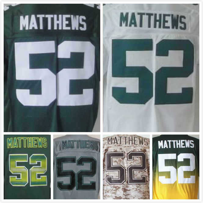 Mens Clay Matthews Jersey #52 Elite Football Jerseys Green White Cheap Authentic Sports Jerseys Stitched Logos Drop Shipping(China (Mainland))