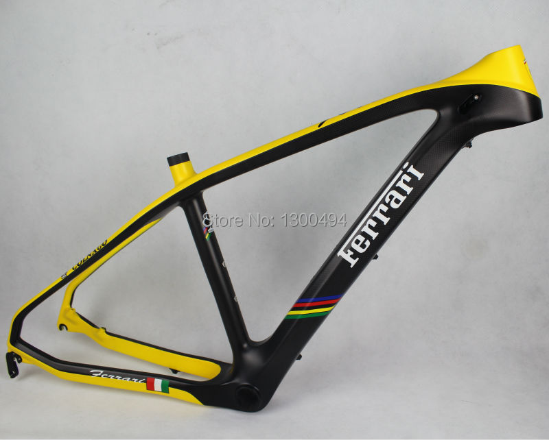 26-inch carbon fiber mountain bike frames / MTB  bicycle 16.5 high  / Yellow + carbon fiber color<br><br>Aliexpress