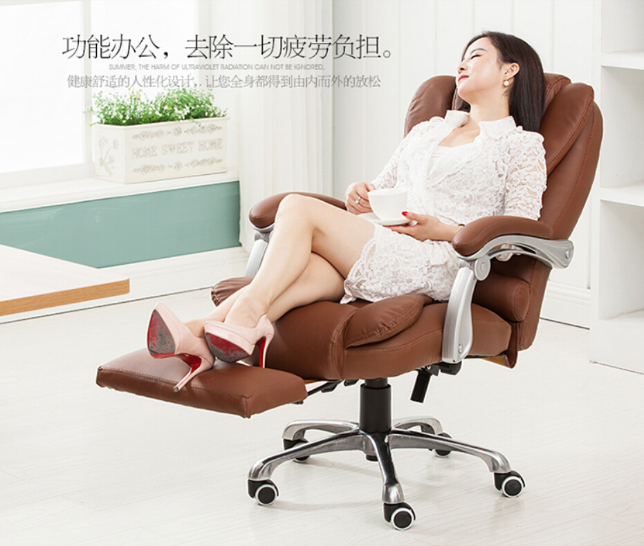 Reclining leather chair home computer chair swivel chai(China (Mainland))