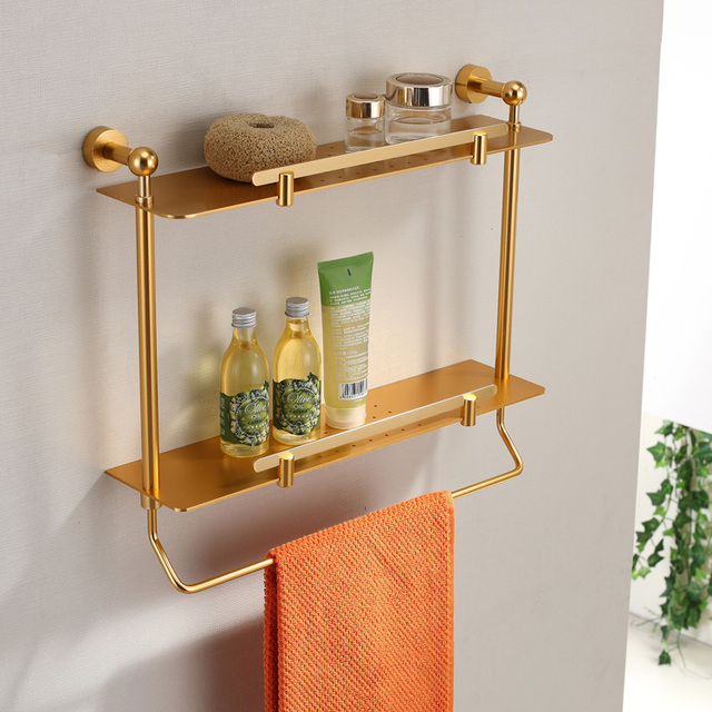 Free shipping Quality luxury aluminum double layer bathroom shelf board rack golden with towel bar shower caddy wall mounted