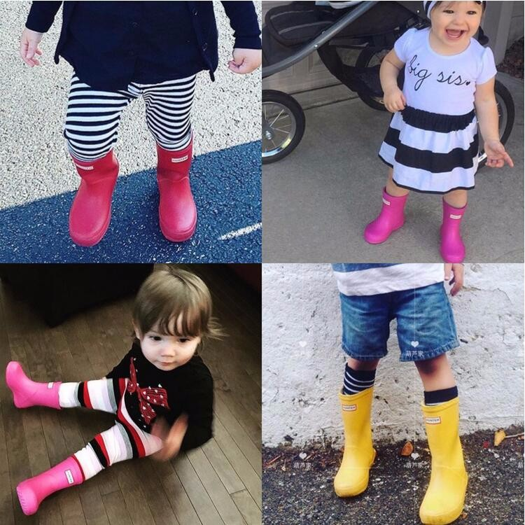 Children Shoes Rain Boots Girls Shoes Solid Jelly Water Shoes Flat Short Boys Shoes Kids Boots