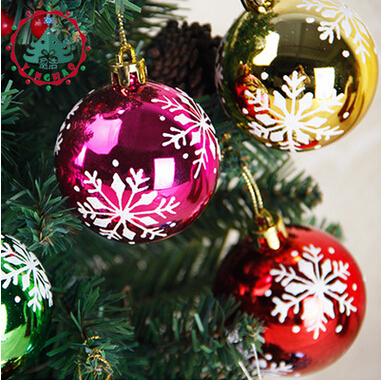 2016 Fashion 6cm Christmas Ball Christmas Gift Navidad New Year Ornament Christmas Decoration Ball with Snow(China (Mainland))