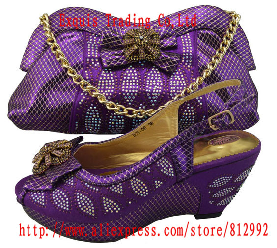 New italian design lady shoes with matching bags for wedding party ,high quality shine stone purple color BCH-06(China (Mainland))