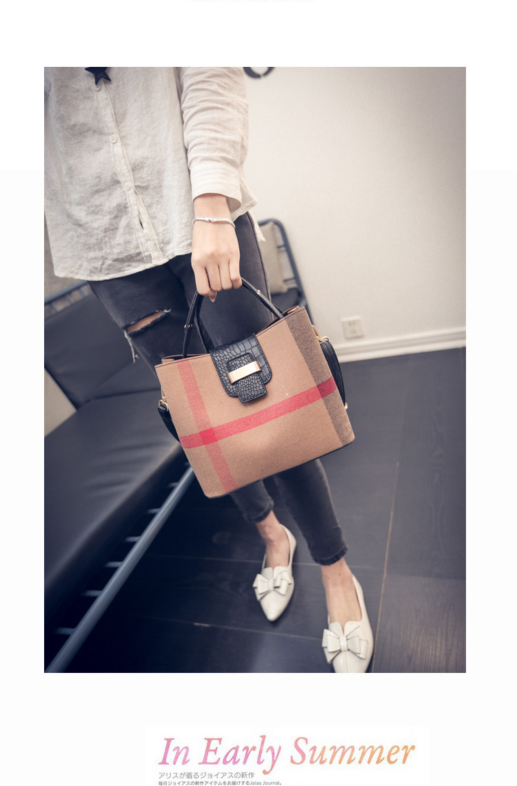 Chic Plaid PU Leather Bucket Bag Women Trendy Crocodile Printing Shoulder Bag Fashion Contrast Color Ladies Designer Hand Bag