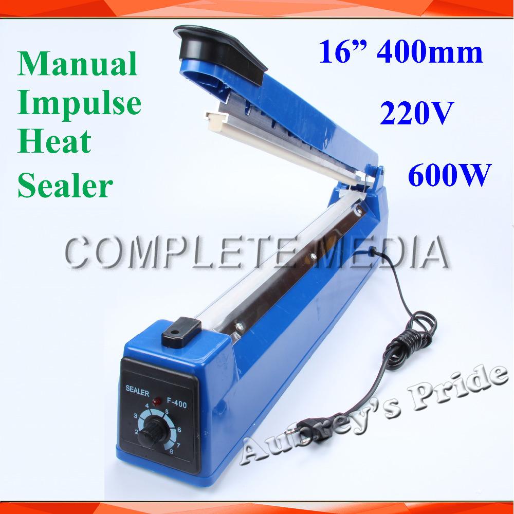 "New 16"" 400mm 600W Hand Manual 220V Impulse Sealer Heat Seal Machine Poly PVC Plastic Shrink Vacuum Bag Film lips Sealing(China (Mainland))"