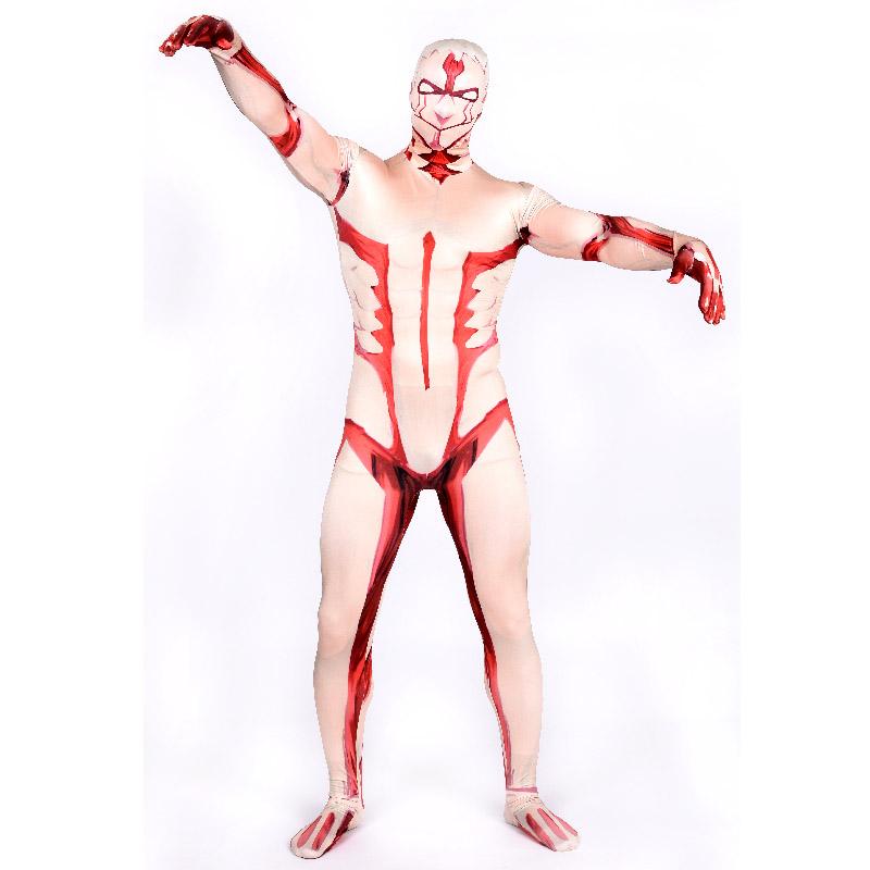 High Quality Spandex Adult Armored Titan Costume Men Titan Costume Cosplay Fancy Dress Halloween Costume for Men