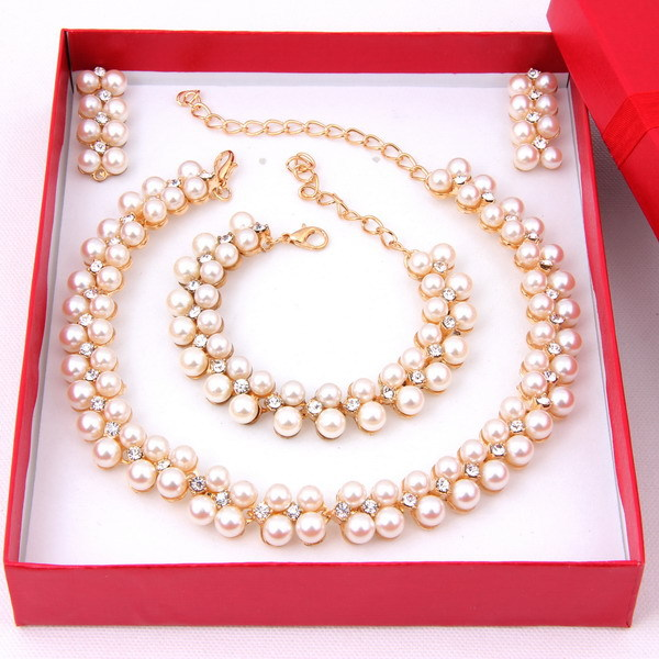 Women 18K Gold Plated Nigerian African Beads Crystal Jewelry Sets Ivory Wedding Bridal Pearl Costumes Party Jewellery Accesssori(China (Mainland))